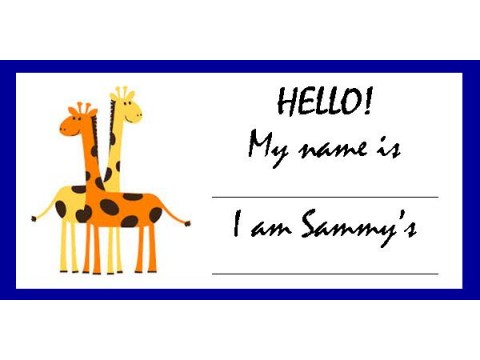 Baby Shower Name Tags - Orange & Yellow Giraffes w/ Blue Border