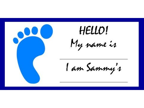 Baby Shower Name Tags - Blue Foot w/ Blue Border
