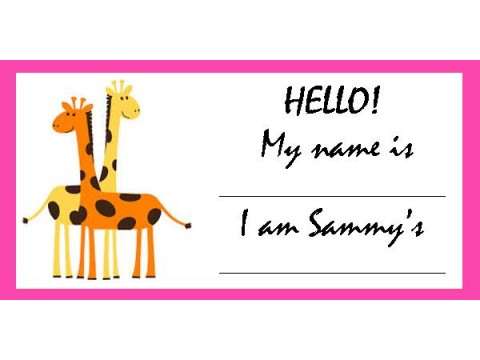 Baby Shower Name Tags - Orange & Yellow Giraffes w/ Pink Border