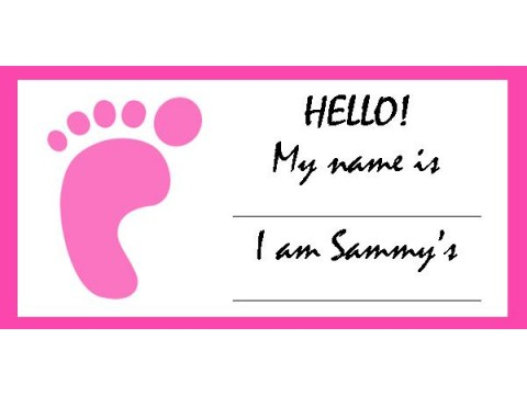 Baby Shower Name Tags - Pink Foot w/ Pink Border