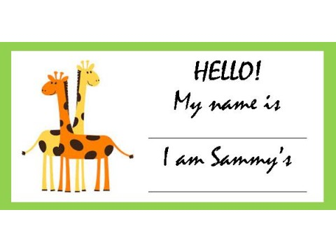 Baby Shower Name Tags - Orange & Yellow Giraffes w/ Green Border