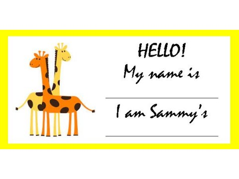 Baby Shower Name Tags - Orange & Yellow Giraffes w/ Yellow Border
