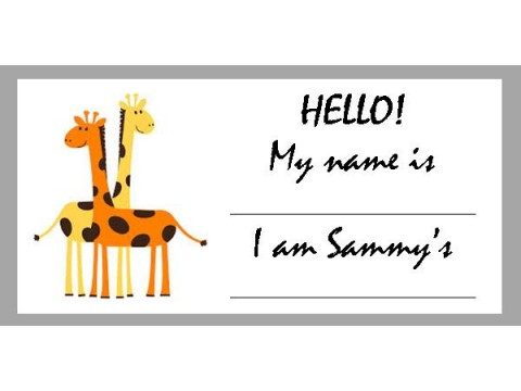 Baby Shower Name Tags - Orange & Yellow Giraffes w/ Grey Border
