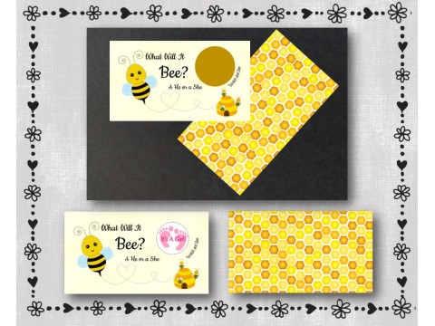 What Will It Bee?  It's A Girl - Gender Reveal Scratcher Cards