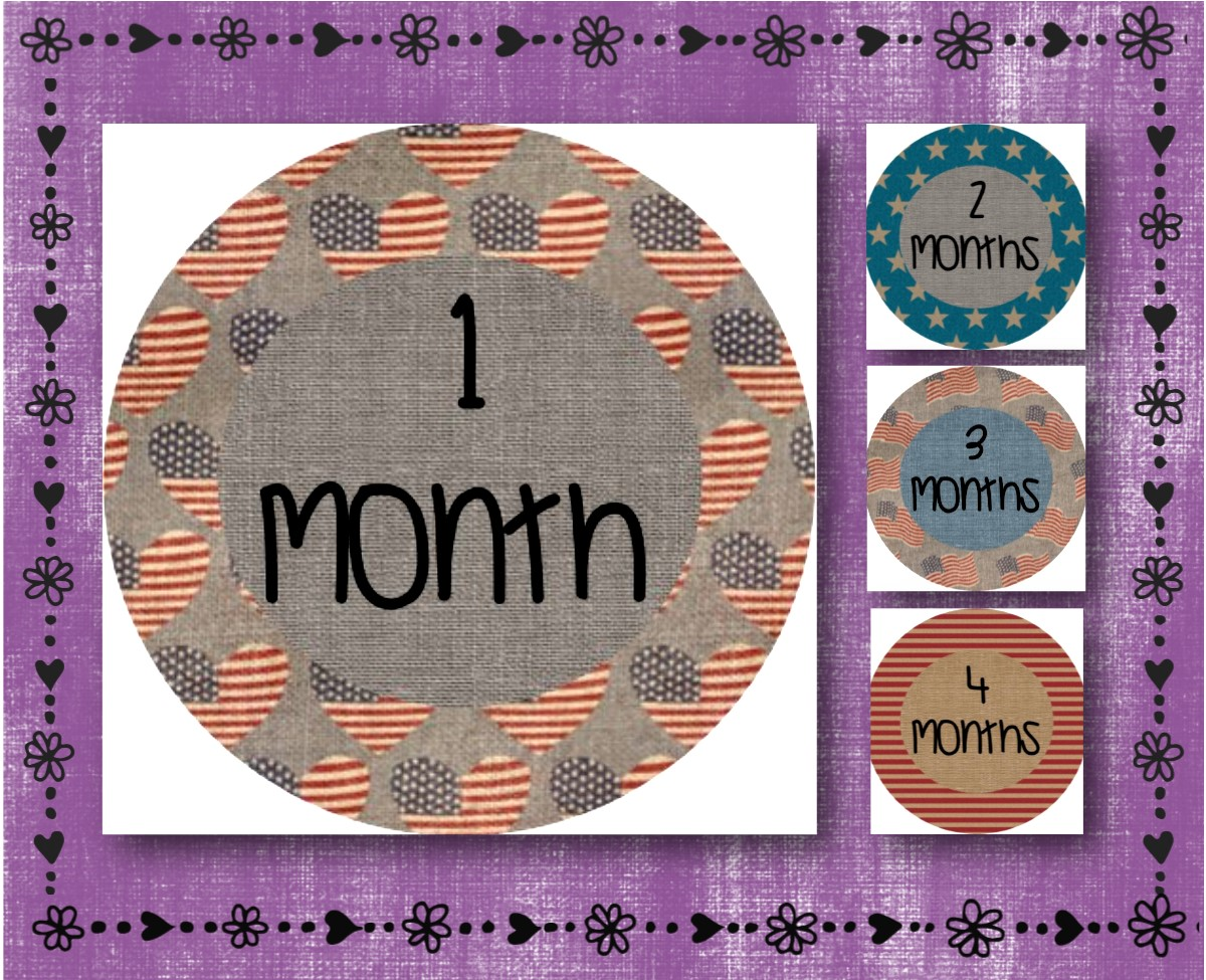 Green Camouflage Picture Prop FREE SHIPPING 2.5 Round Glossy Labels Milestone Monthly Stickers Months 1-12 Baby Shower Gift